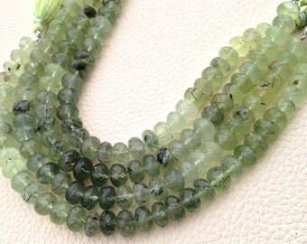New Arrival, Full 8 Inch Long Strand, Finest Quality MOSS PREHNITE Faceted Rondelles,8.8.5mm Long,Superb Item at Low Price