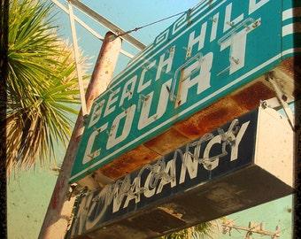 "Vintage Hotel Sign California Palm Tree Motel Vacancy Photography Wall Art ""No Vacancy"""