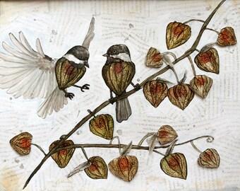 Original Watercolour Painting - Physalis