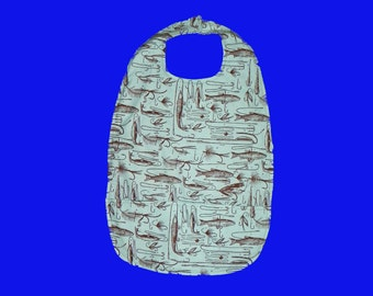 Adult Bib Extra Long with Pocket  Fish and Hooks