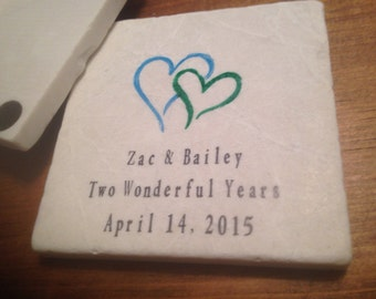 Personalized Wedding Locking Hearts Tile Coaster Set of 4 - Party Favors Love
