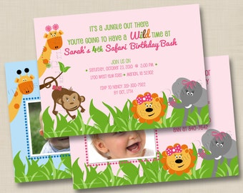 Adorable Zoo Animals Custom Birthday Party Invitation Design- girl or boy with or without photo