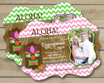 Ornate Die Cut Custom Luau Engagement Party Photo Invitation or Save the Date Photo Announcement Design