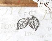 FALLEN silver dangle leaf earrings B8 (sterling silver)