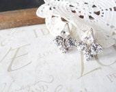 FLEUR vintage fleur de lis rhinestone screw back clip earrings (silver)