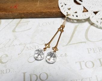 BELLE of the ball crystal drop chandelier earrings (gold)