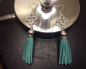 Into the Sea Leather Tassel Earrings