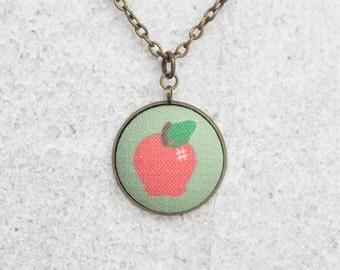Apple, Fabric Button Pendant Necklace