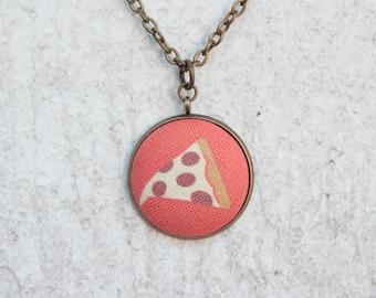 Pizza, Fabric Button Pendant Necklace