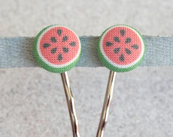 Watermelons, Fabric Covered Button Bobby Pin Pair