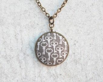 Skeleton Keys, Fabric Button Pendant Necklace