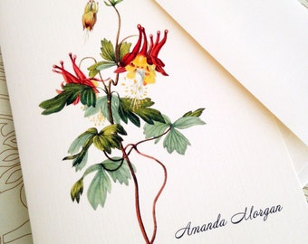 Personalized Card Set, Vintage Floral Note Cards, Stationery, Set of 6