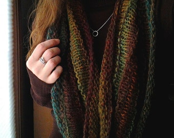 Hand Knit Infinity Cowl Scarf in Beautiful Earthy Tones