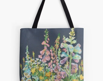 "Foxglove Garden Landscape Scenery Tote Bag - Artist's Pastel Painting Design. Two Sizes Available Medium 16"" and Large 18"""