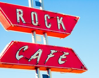 Cafe Sign, Fine Art Photo, Retro Decor, Neon Sign, Route 66 Wall Art, Oklahoma, Home Decor, Red and Blue, Neon light, Road trip, Americana