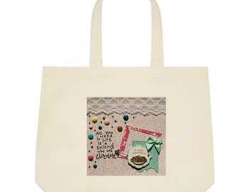 Chocolate Tote Bag in pink and green bow