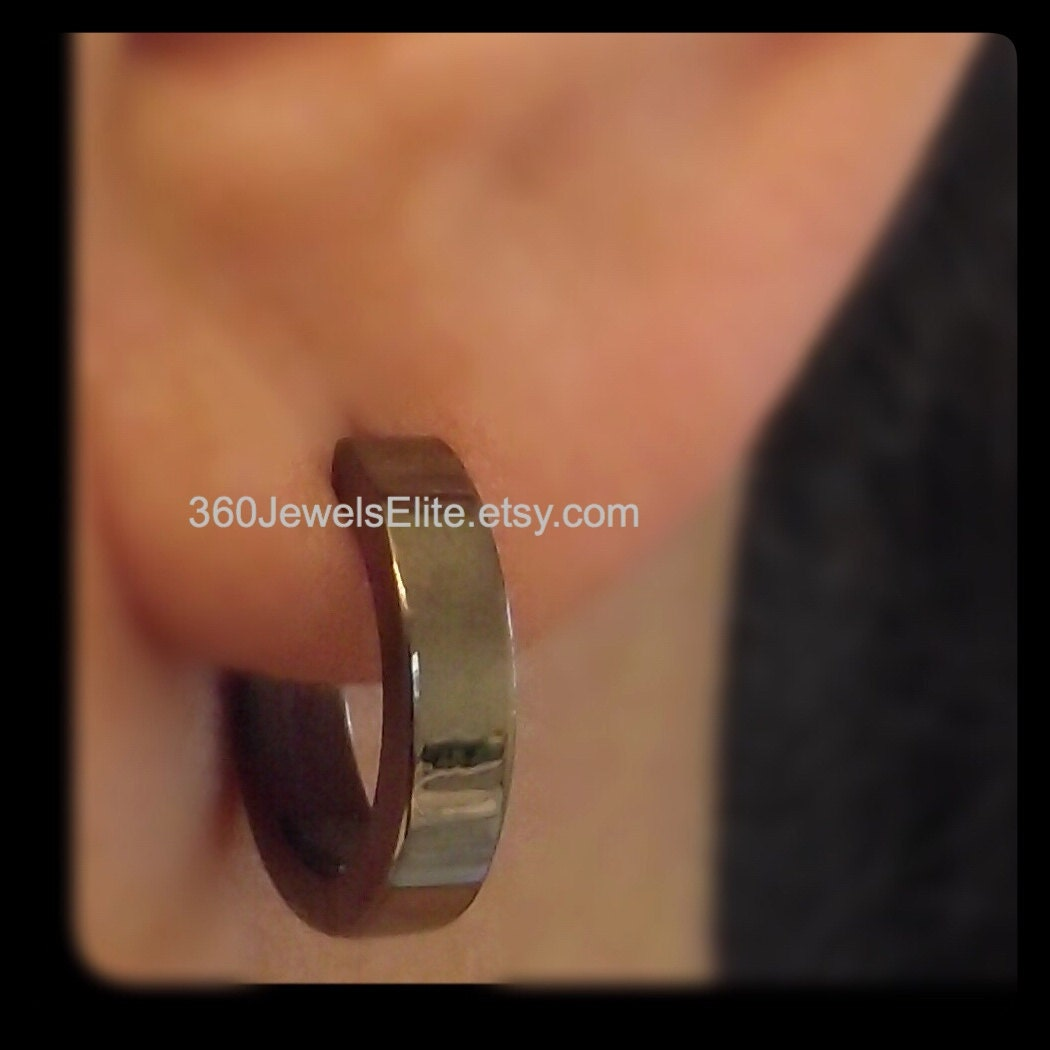 Xl Black Gold Hoop Earrings For Men Extra Large