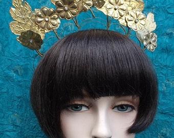 Vintage tiara crown Indonesian Sumatra headdress trembler belly dance tribal fusion hair accessory hair jewelry hair ornament (AAM)