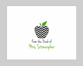 Personalized Chevron Apple Folded Note Cards ~ Personalized Teacher Gift