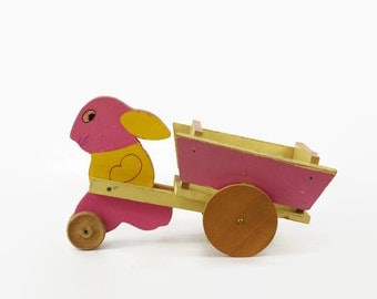 Vintage Easter Toy, Easter Table Decoration, Rabbit with Wooden Wagon Cart, Easter Bunny Decoration, Toy Kraft Bunny