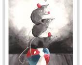 Pigmy Shrews A4 Print