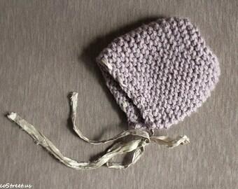 Baby Girl Hat, Dusty Purple Newborn Knit Hat, Purple Newborn Hat, Baby Girl Photo Prop, Chunky Hat, Sari Ribbon Bonnet, Hat, Newborn Props