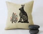 Burlap Pillow with Rustic Rabbit Block Print