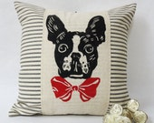 Boston Terrier Wearing a Bow Tie Hand Block Print Pillow - Decorative throw pillow cushion cover