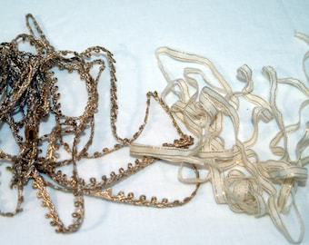 Lot of 2 Metallic trims Gold and White ribbon and  thread trim  loops vintage gold white