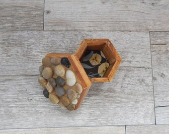 Polished River Stone Mosaic Trinket Box Hexagon