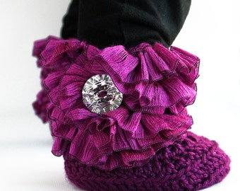 Purple Ruffle Baby Crochet Boots- Choose Your Size
