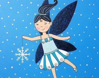 Penelope the Winter Fairy - Original Acrylic Painting on Canvas