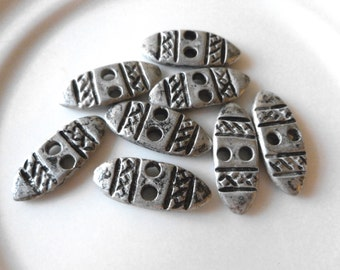 SALE Oblong Silver Metal Buttons, Vintage, Aztec, Tribal, Rustic, Rare, Flat Oblong Buttons, 2 hole, 10 in Lot, Silver, Pewter Metal Buttons