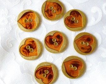 Vintage Metal Buttons ~ Tortoise Shell Heart in Gold Metal ~ Made in Italy ~ circa 1970's ~ Hearts ~ 2 hole Flat button ~ 22mm ~ 10 in lot