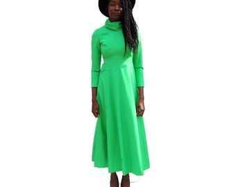 High neck long sleeve lime green maxi dress 1970s 70s VINTAGE