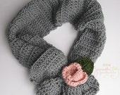 Ashby Scarf, Rosette scarf, rosette ruffle scarf, crochet ruffle scarf, crochet rosette ruffle, crochet scarf, crochet cowl, crochet ruffle