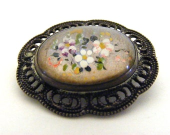 Vintage Butterfly Wing Brooch Domed Glass Sterling Silver Filigree Painted Flowers
