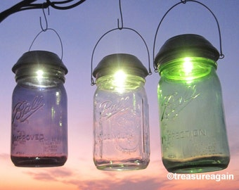 Choice Mason Jar Solar Light New Purple, Green, or Clear Ball Jar with a 4x Brighter Solar Lid, Outdoor Mason Jar Lights