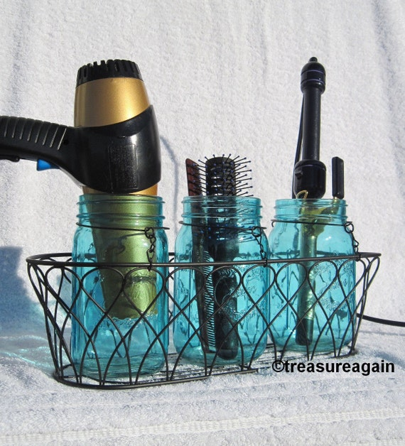 Hair Styling Caddy Mason Jar Hair Station Caddy Bathroom Organizer Storage