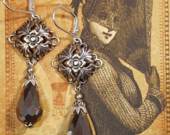 Victorian Earrings - Victorian Jewelry - Gothic Earrings - Edwardian Jewelry - Tudor Jewelry - Gift for Her - Womens Jewelry