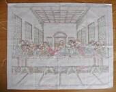 FREE SHIP! Vintage Last Supper Colortex Linen Panel