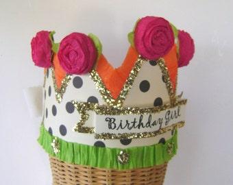 Birthday Party Hat, Birthday Party Crown, Polka Dot Birthday Hat, Birthday Girl Crown, customize