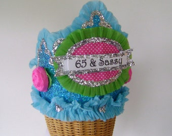 65th Birthday Party Hat, 65th Birthday Party Crown, Adult Birthday Party Crown- 65 & Sassy or customize