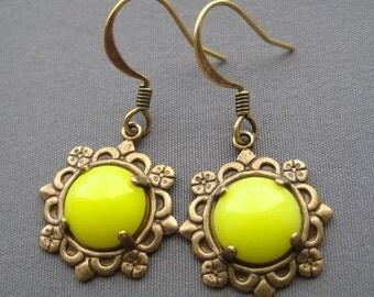 Yellow Earrings - Glass Earrings - Drop Earrings - Yellow Jewelry - Tiny Earrings - Vintage Style - Floral Earrings - Bright Earrings