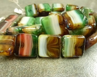 Czech Table Cut Pressed Glass Topaz/White/Green/Coral Travertine 16mm Square 5pc
