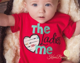 Baby Boy Romper - Ladies Love Me - 6 month Red Embroidered Romper - Toddler Boy, 1st Birthday Outfit