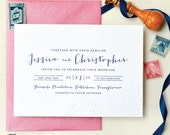 INVITATION SAMPLE The Haile Suite - Lace, Pink, and Navy Letterpress Wedding Invitation - Heirloom Wedding Invitations by Sincerely, Jackie