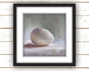 Egg Painting Print - Original Fine Art Still Life Painting Print