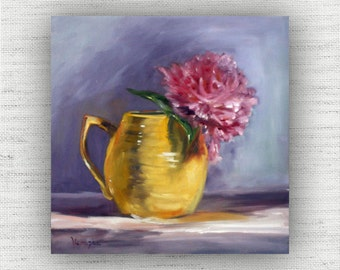 Peony Painting Print of Still Life Oil Painting Flower Home Decor Wall Art - Unique Kitchen, Cottage Style Dining Room Art Print Wood Block