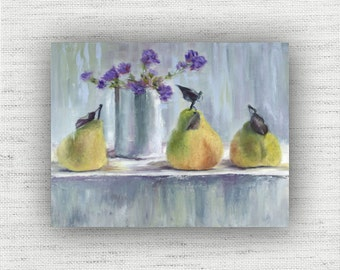 Three Pears - Art Print of Painting - Large Wall Art Print on Wood Block